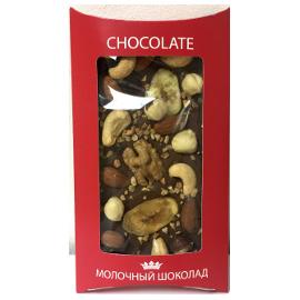 Шоколад молочный 40% с орехами 130 гр.
